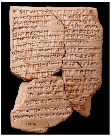 לוח חומר בכתב יתדות עם תקציר של ליטורגיה שומרית
